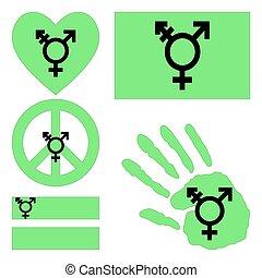 genderqueer, transgender, elements., conception, israélien, fierté