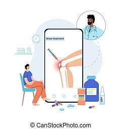genou, traitement, injection