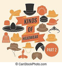 genres, headwear., partie, 2.