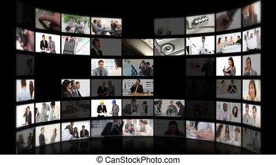 gens, échanger, ou, montage, business, phoner, idées, réunion
