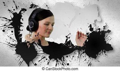 gens, écoute, animation, musique