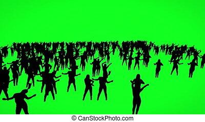 gens, écran, silhouette, vert, danse