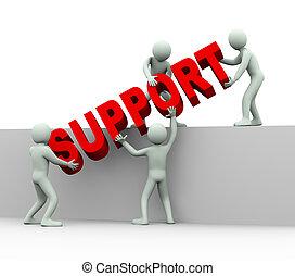gens, -, 3d, aide, soutien, concept