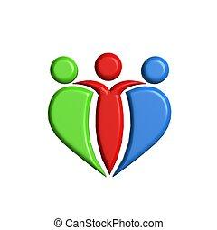 gens, 3d, amitié, logo, collaboration, unité, business