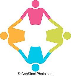 gens, 4., collaboration, tenue, cercle, hands.