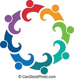 gens, 8, collaboration, groupe, réunion