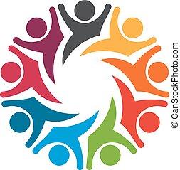 gens, 8, heureux, exciter, émotions, image., playful., équipe, groupe, concept