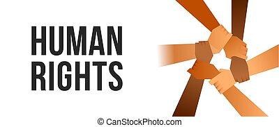 gens, affiche, droits, bras, unité, humain