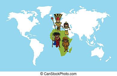 gens, afrique, dessins animés, mondiale, illustration., carte, diversité