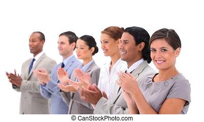 gens, applaudir, bien-habillé