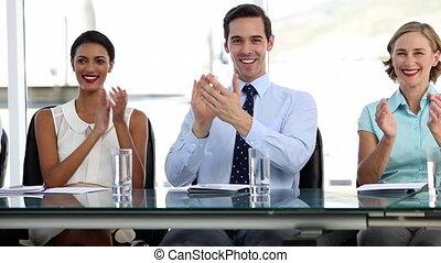 gens, applaudir, business, offic