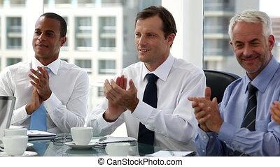 gens, applaudir, business, séance