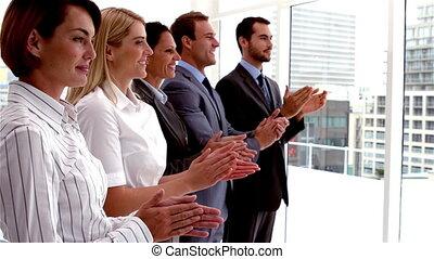 gens, applaudir, equipe affaires