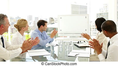 gens, applaudir, mee, business
