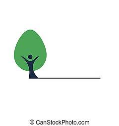 gens, arbre, vecteur, vert, coffre, icône