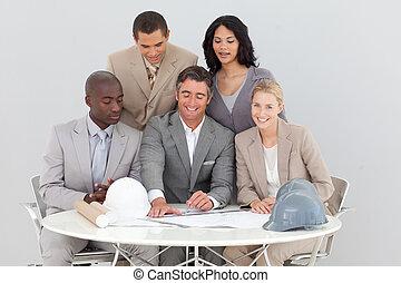 gens, architectural, étudier, business, plans