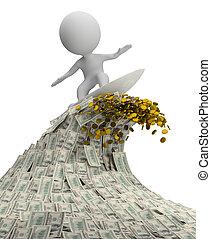 gens, argent, -, vague, petit, 3d