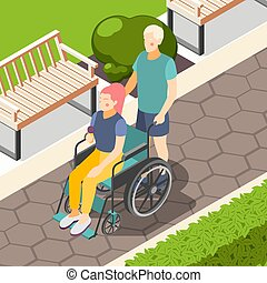 gens arrière-plan, isométrique, handicapé