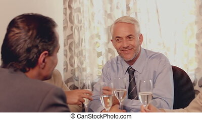 gens, avoir déjeuner, business, rencontrer