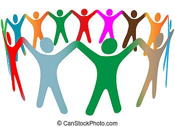 gens, beaucoup, symbole, haut, couleurs, divers, mains, anneau, prise, mélange