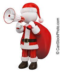 gens., blanc, porte voix, santa, conversation, claus, rouges, 3d
