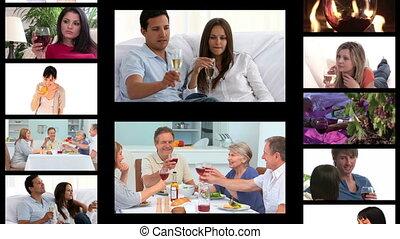 gens, boire, montage, vin