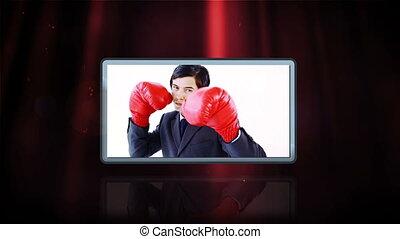 gens, boxe, vidéos, business