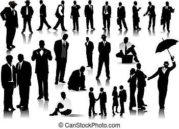gens bureau, couleur, silhouettes., une, vecteur, déclic, changement