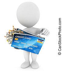 gens, carte de débit, blanc, ouvre, 3d