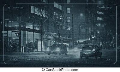 gens, cctv, croisement, tempête neige, route