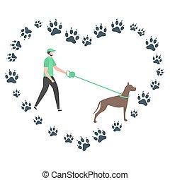 gens, chien, vecteur, pistes, promenade, actif, canin