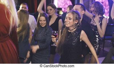 gens, club, danse, jeune, nuit, amusement, fête