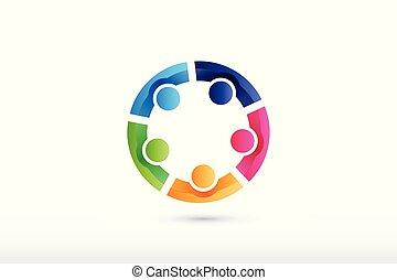 gens, collaboration, équipe, portion, tenant mains, logo