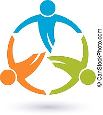 gens, collaboration, 3, round., groupe