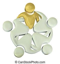 gens, collaboration, logo, étreinte, 3d