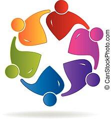 gens, collaboration, social, logo, média