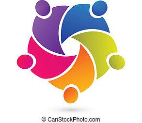 gens, collaboration, union, logo, vecteur