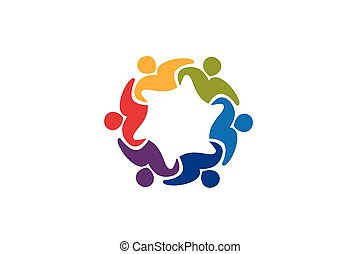 gens, collaboration, unité, logo