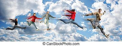 gens, collage, panorama, voler, nuage ciel