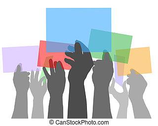 gens colorent, beaucoup, espaces, tenant mains