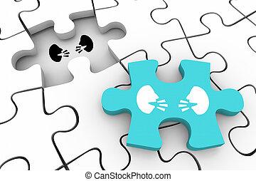 gens, communication, discussion, deux, illustration, final, conversation, faces, morceau, puzzle, 3d
