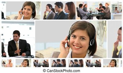 gens, communiquer, business, montage