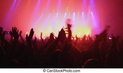gens, concert., applaudir, lot