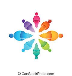 gens, connecté, icône