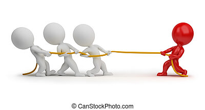 gens, -, corde, traction, petit, 3d