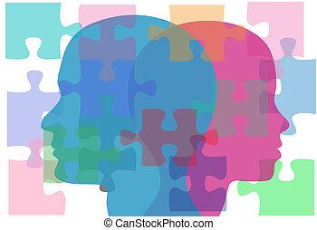 gens, couple, problèmes, solution, femme, mâle, puzzle