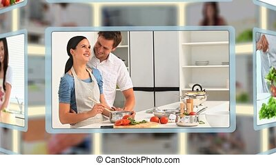 gens, cuisine, montage