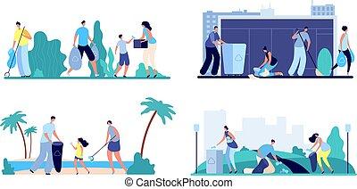 gens, déchets, trash., forêt, famille, garbage., spontanéité, ou, front mer, volontaire, nettoyage, scènes, jeter, ville, vecteur, déchets, rue