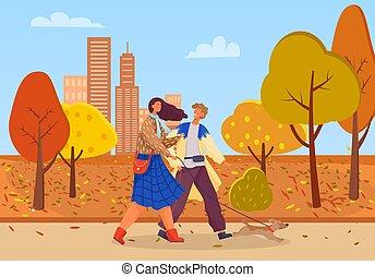 gens, date, parc, automne, couple, ville