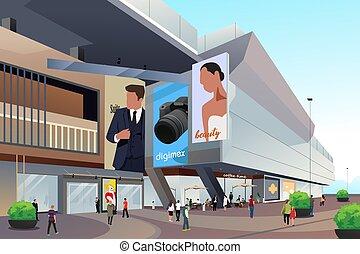 gens, dehors, achats, illustration, centre commercial